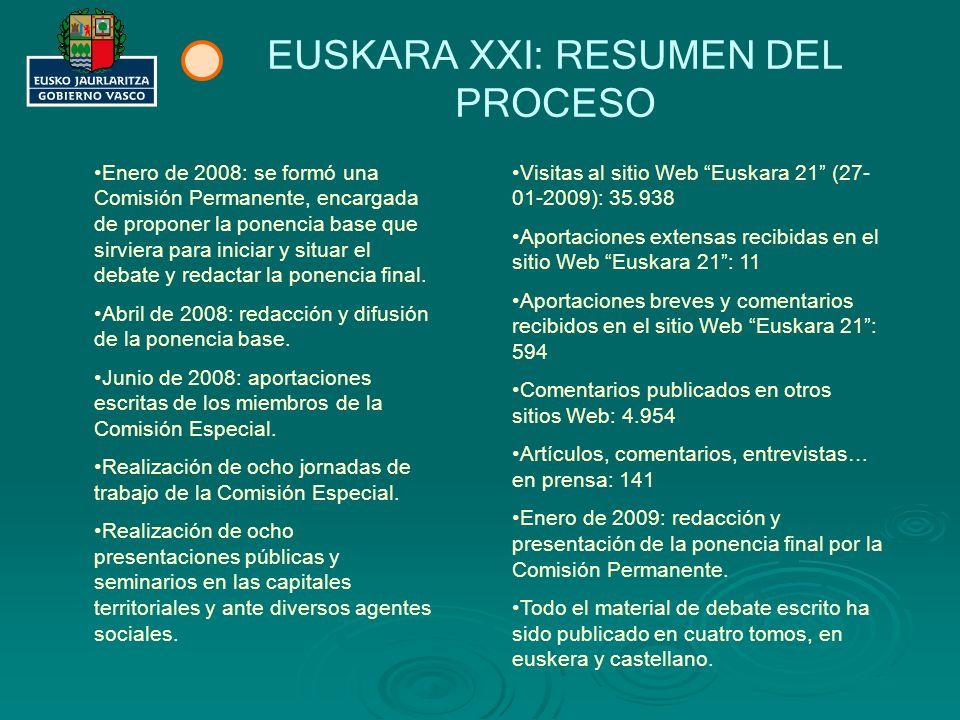 EUSKARA XXI: RESUMEN DEL PROCESO