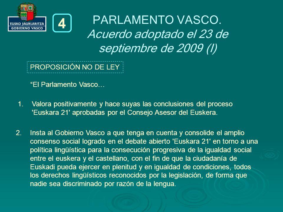 Acuerdo adoptado el 23 de septiembre de 2009 (I)