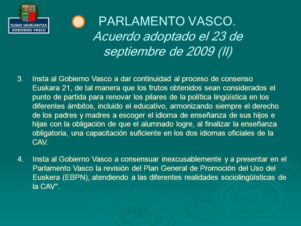 Acuerdo adoptado el 23 de septiembre de 2009 (II)
