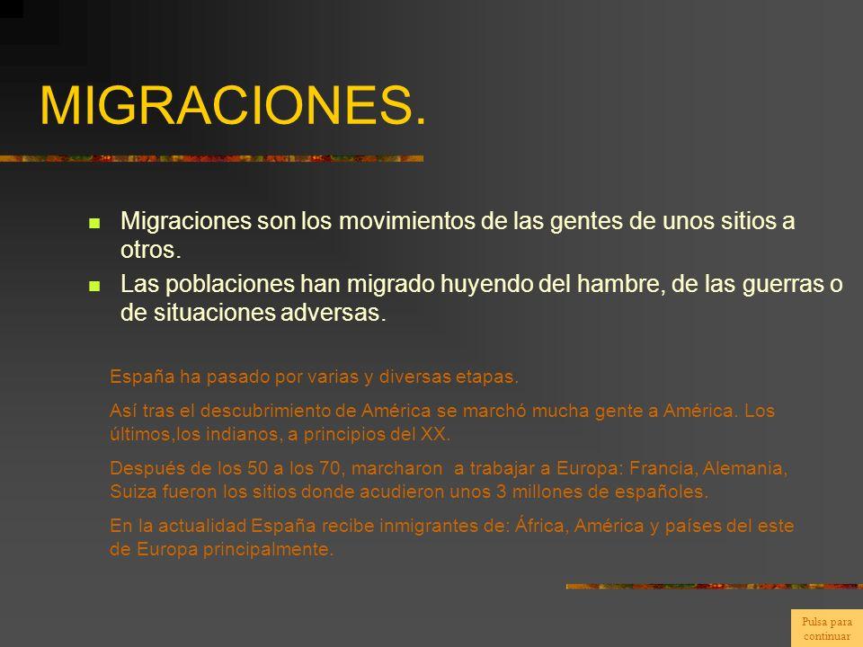 MIGRACIONES. Migraciones son los movimientos de las gentes de unos sitios a otros.