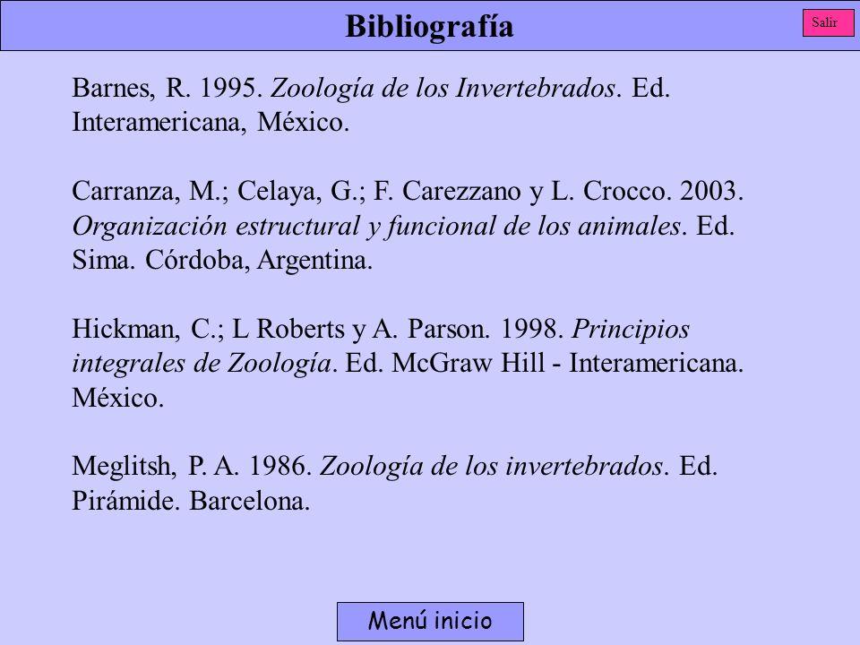 BibliografíaSalir. Barnes, R. 1995. Zoología de los Invertebrados. Ed. Interamericana, México.