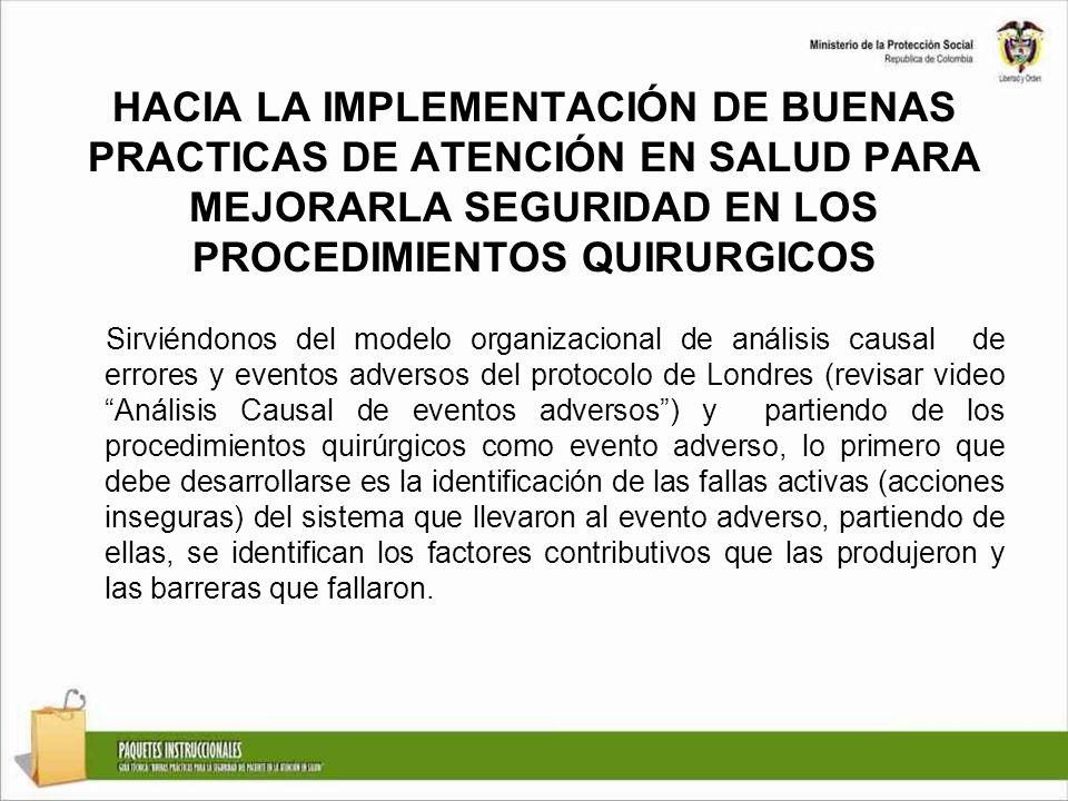 HACIA LA IMPLEMENTACIÓN DE BUENAS PRACTICAS DE ATENCIÓN EN SALUD PARA MEJORARLA SEGURIDAD EN LOS PROCEDIMIENTOS QUIRURGICOS