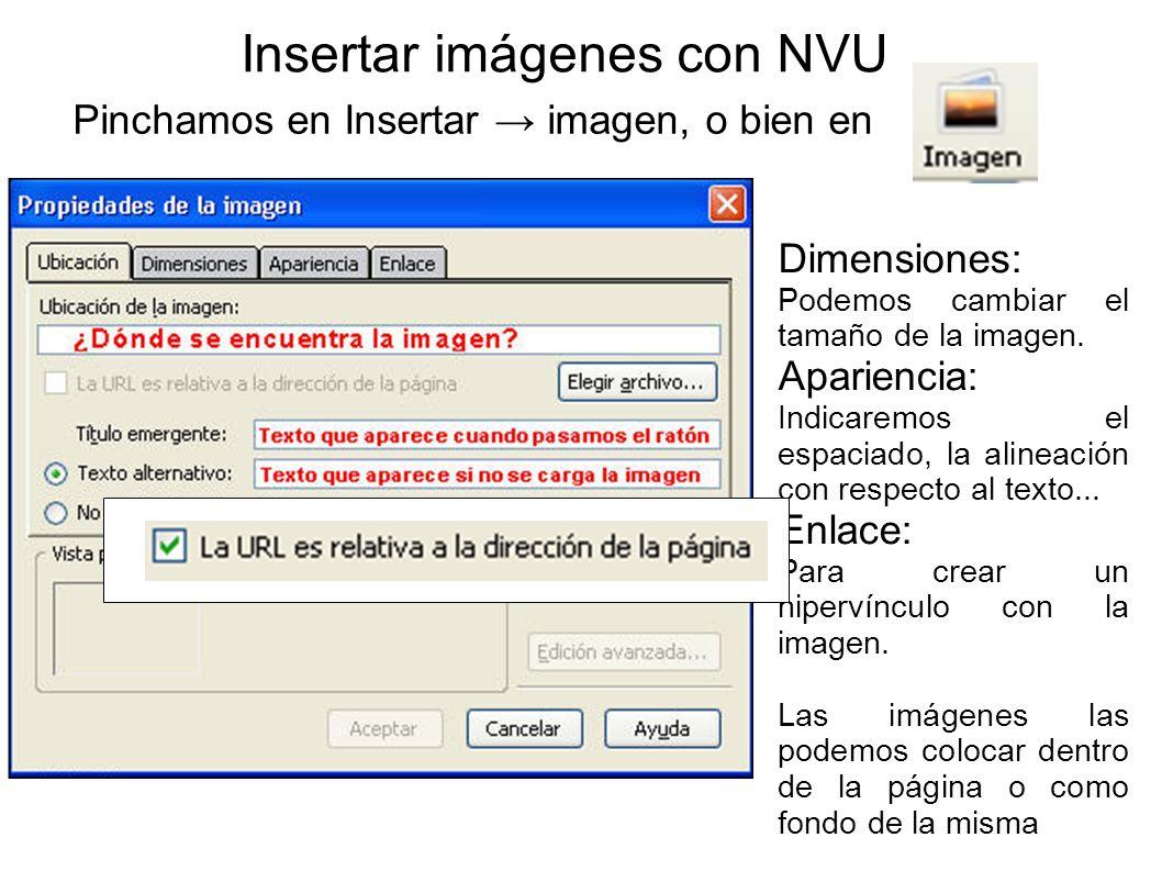 Insertar imágenes con NVU