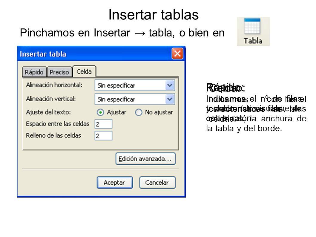 Insertar tablas Pinchamos en Insertar → tabla, o bien en Rápido: