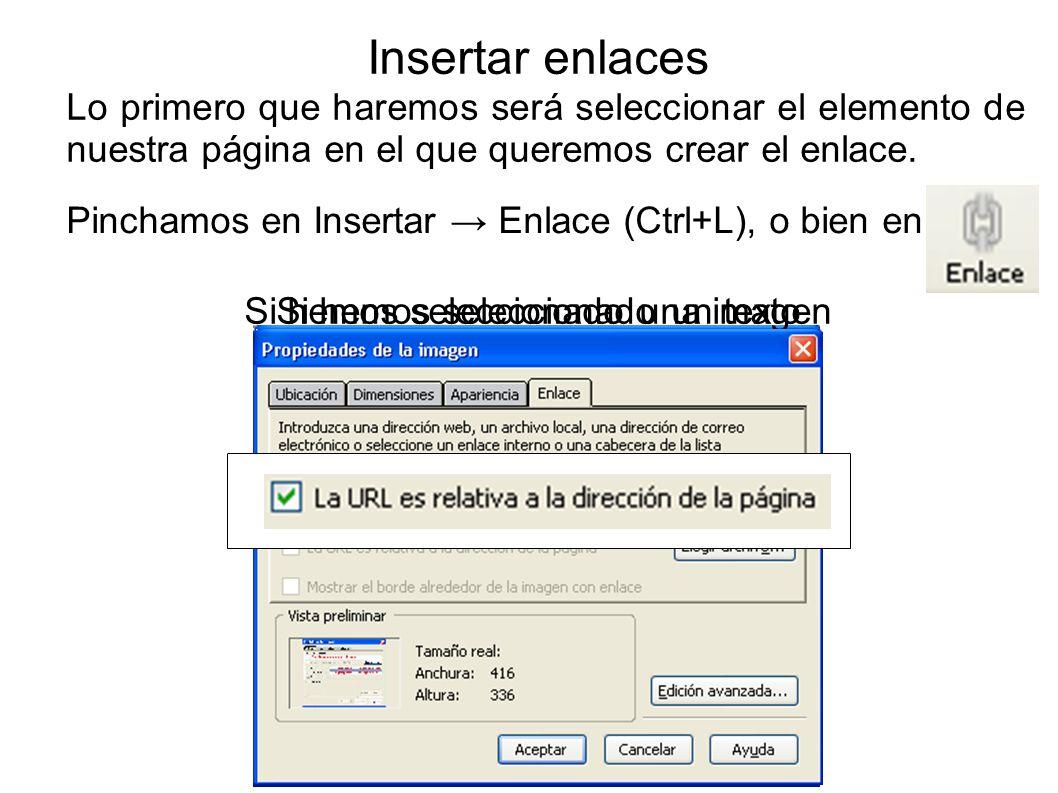 Insertar enlaces Lo primero que haremos será seleccionar el elemento de nuestra página en el que queremos crear el enlace.