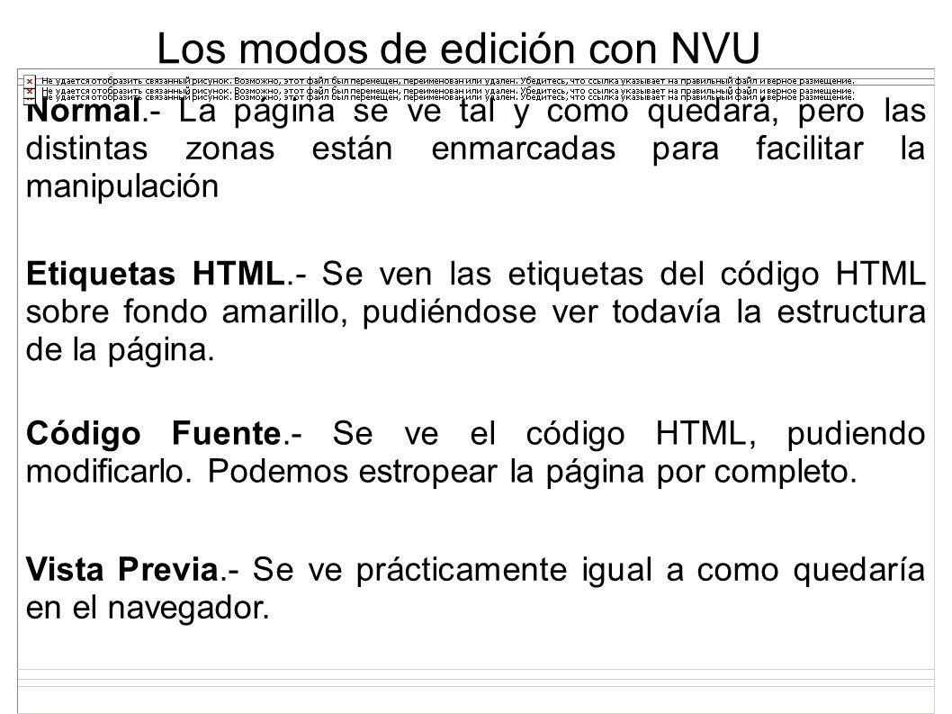 Los modos de edición con NVU