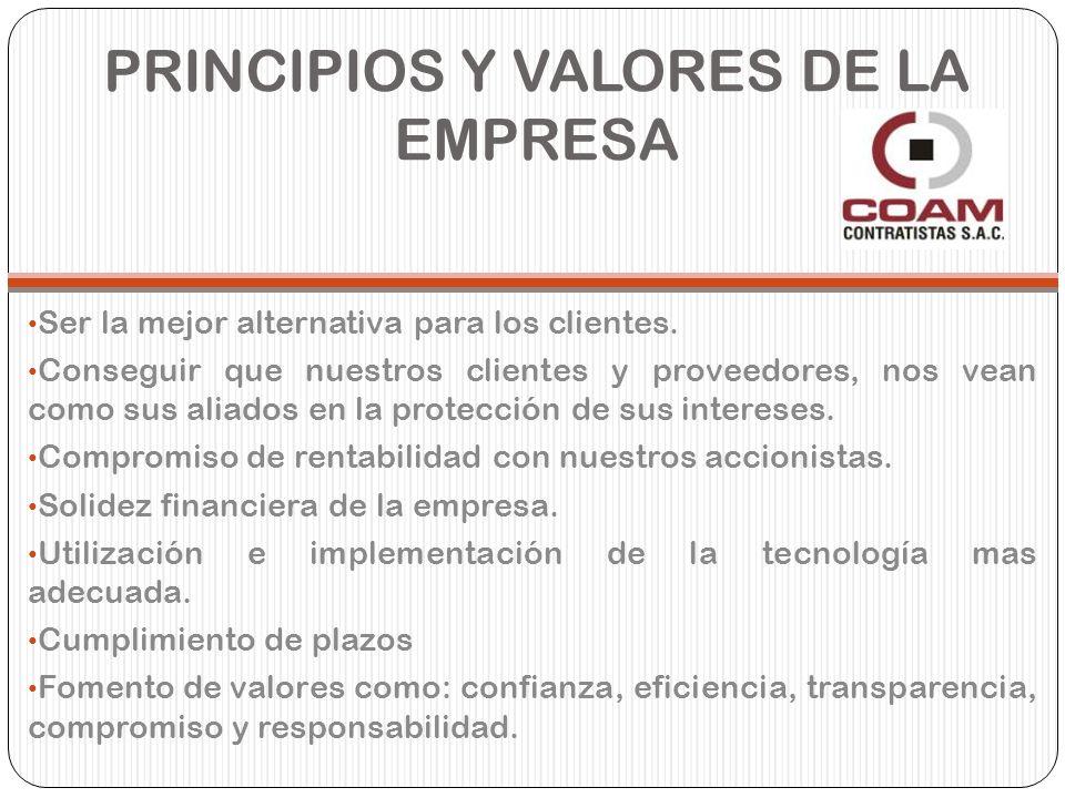 PRINCIPIOS Y VALORES DE LA EMPRESA