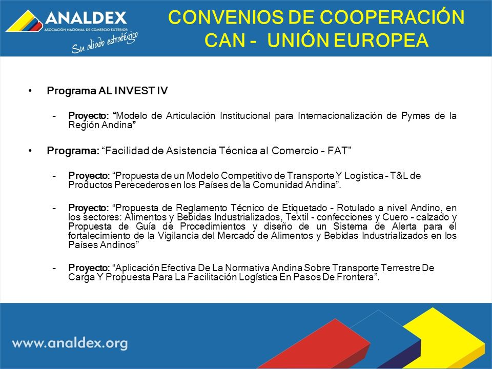 CONVENIOS DE COOPERACIÓN CAN - UNIÓN EUROPEA