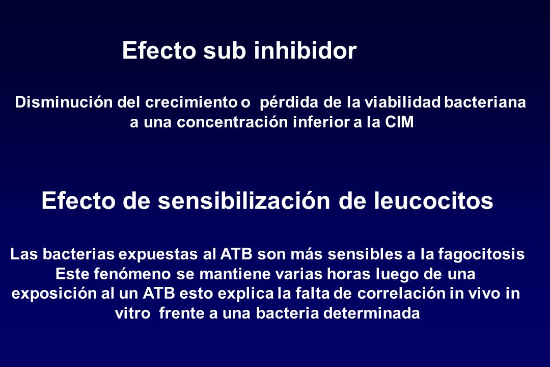 Efecto sub inhibidor Efecto de sensibilización de leucocitos