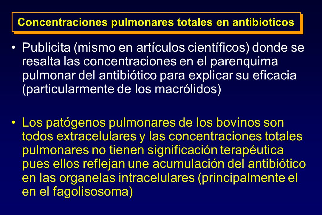 Concentraciones pulmonares totales en antibioticos