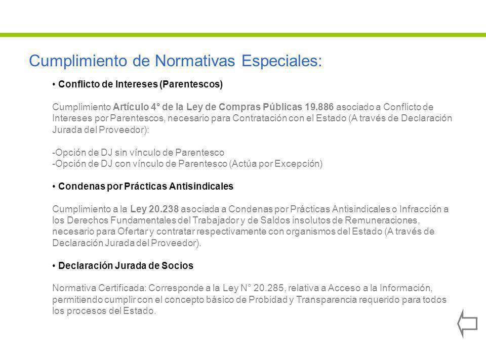 Cumplimiento de Normativas Especiales: