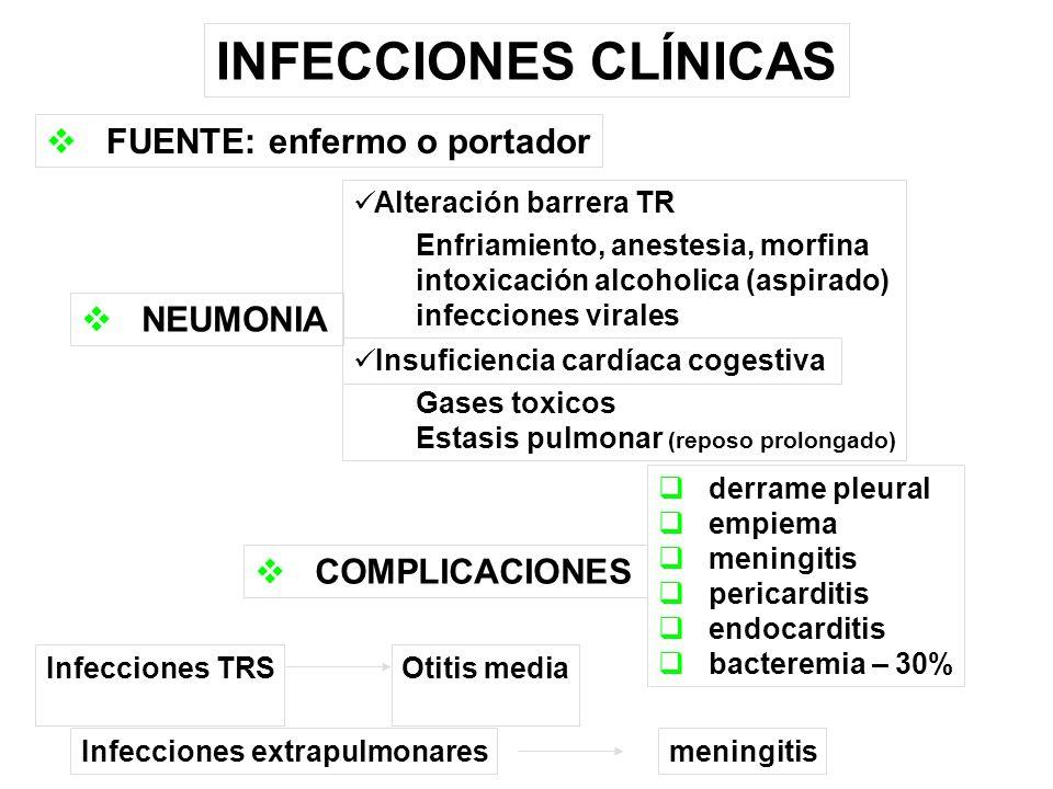 INFECCIONES CLÍNICAS FUENTE: enfermo o portador NEUMONIA