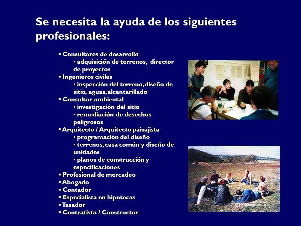 Se necesita la ayuda de los siguientes profesionales:
