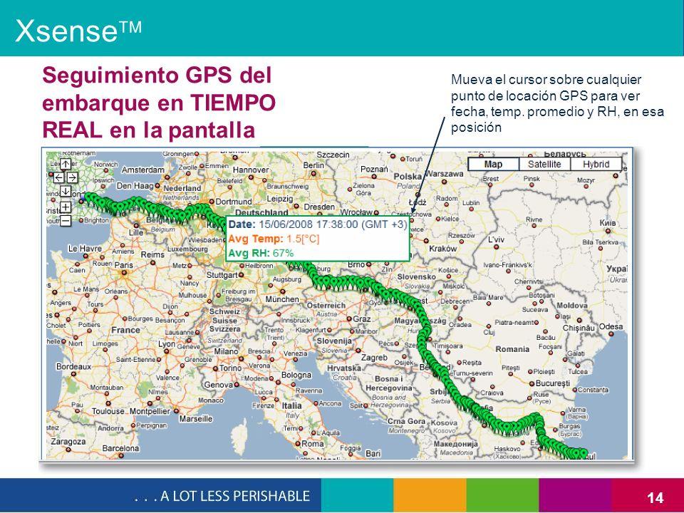 Xsense Seguimiento GPS del embarque en TIEMPO REAL en la pantalla