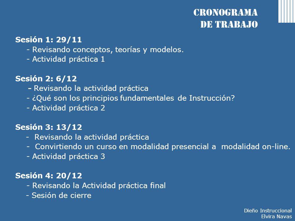 Cronograma de trabajo Sesión 1: 29/11