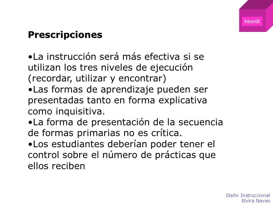 MerrillPrescripciones. La instrucción será más efectiva si se utilizan los tres niveles de ejecución (recordar, utilizar y encontrar)