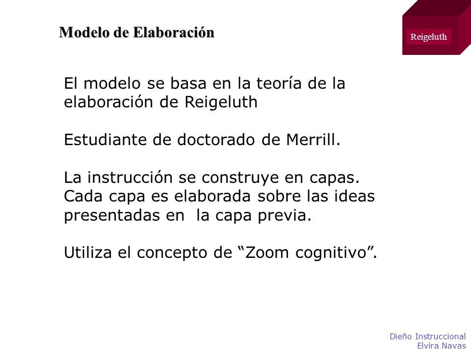 El modelo se basa en la teoría de la elaboración de Reigeluth
