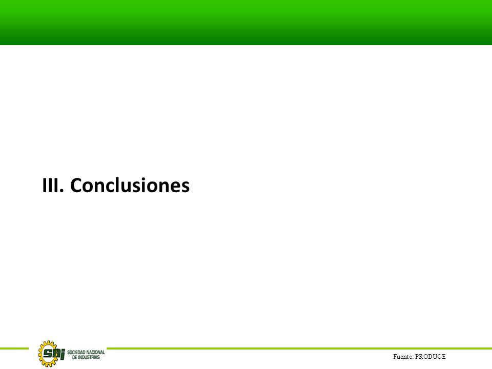 III. Conclusiones Fuente: PRODUCE