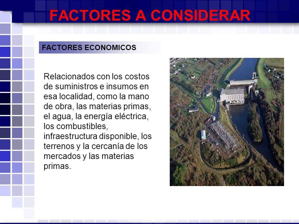 FACTORES A CONSIDERAR FACTORES ECONOMICOS.