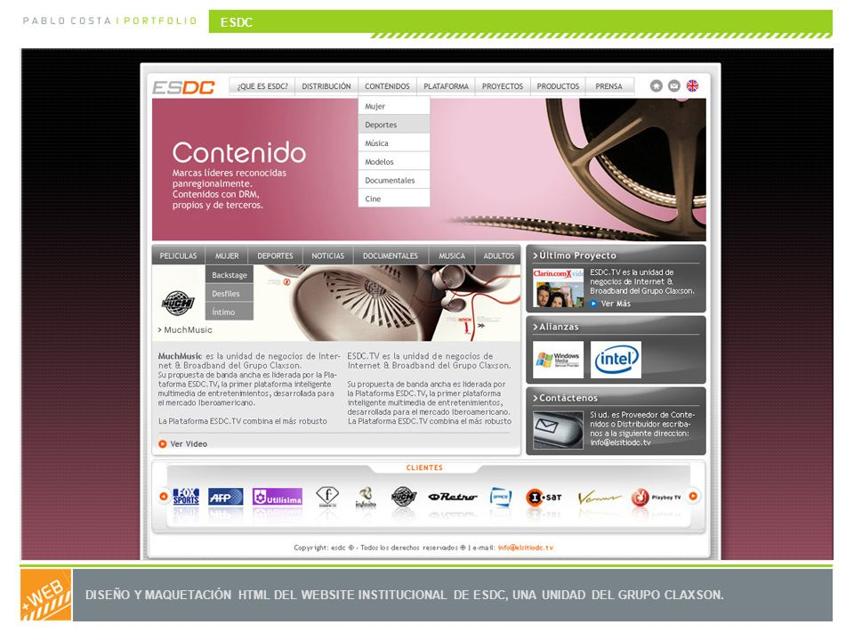 ESDC DISEÑO Y MAQUETACIÓN HTML DEL WEBSITE INSTITUCIONAL DE ESDC, UNA UNIDAD DEL GRUPO CLAXSON.