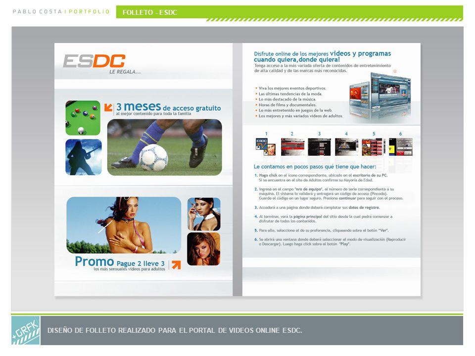 FOLLETO - ESDC DISEÑO DE FOLLETO REALIZADO PARA EL PORTAL DE VIDEOS ONLINE ESDC.