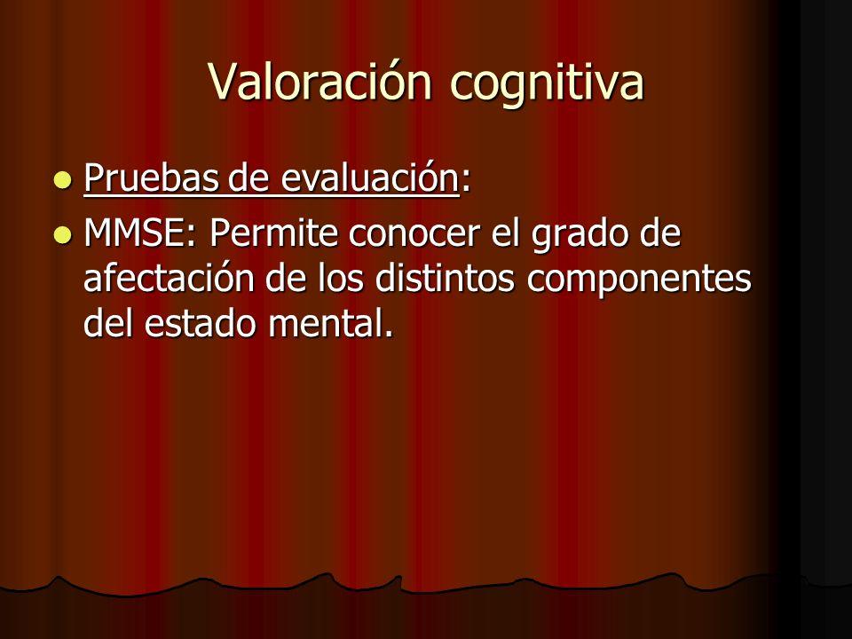 Valoración cognitiva Pruebas de evaluación: