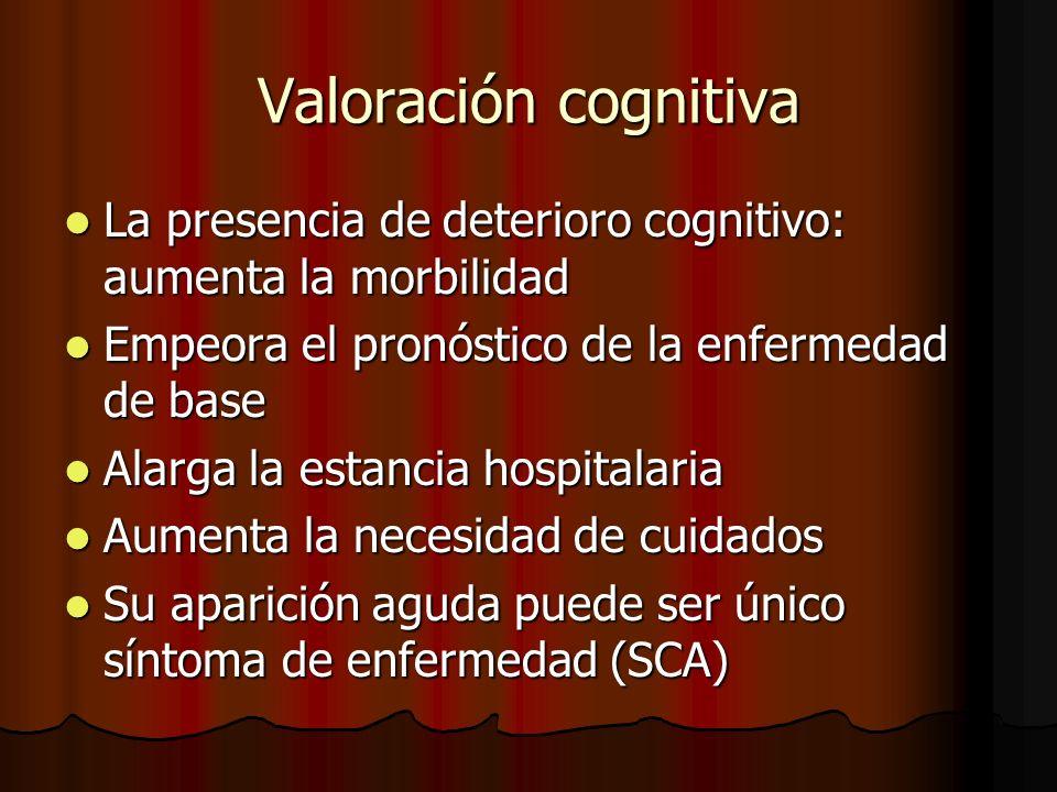 Valoración cognitiva La presencia de deterioro cognitivo: aumenta la morbilidad. Empeora el pronóstico de la enfermedad de base.