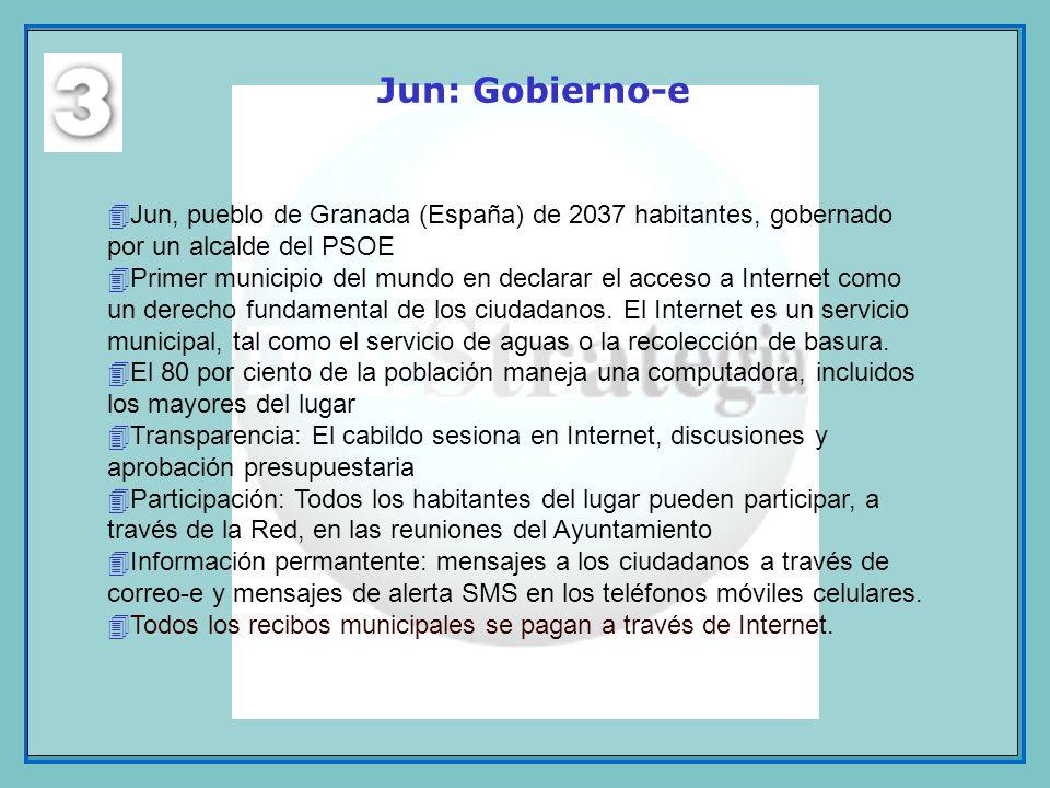 Jun: Gobierno-e Jun, pueblo de Granada (España) de 2037 habitantes, gobernado por un alcalde del PSOE.