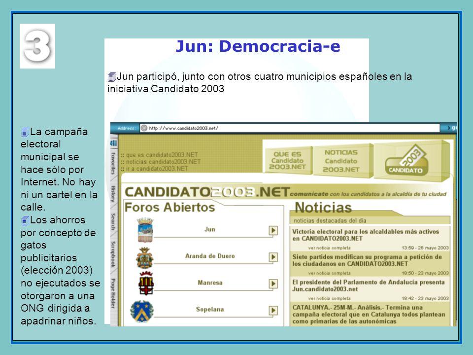 Jun: Democracia-eJun participó, junto con otros cuatro municipios españoles en la iniciativa Candidato 2003.