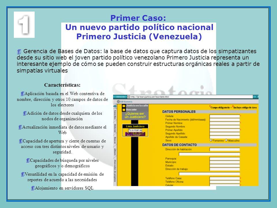 Primer Caso: Un nuevo partido político nacional Primero Justicia (Venezuela)