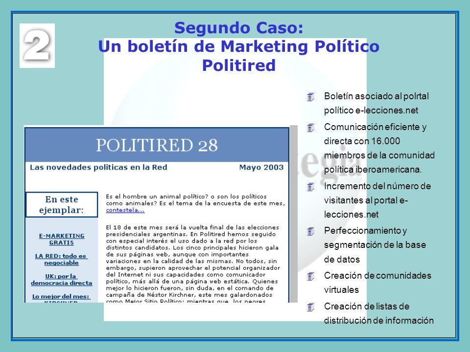 Segundo Caso: Un boletín de Marketing Político Politired