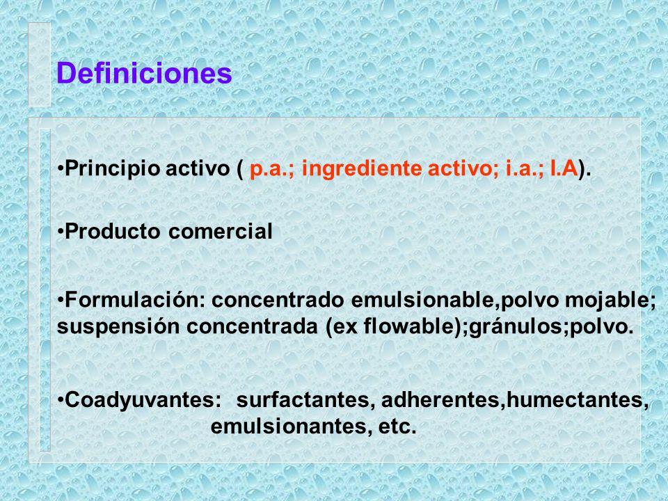 Definiciones Principio activo ( p.a.; ingrediente activo; i.a.; I.A).