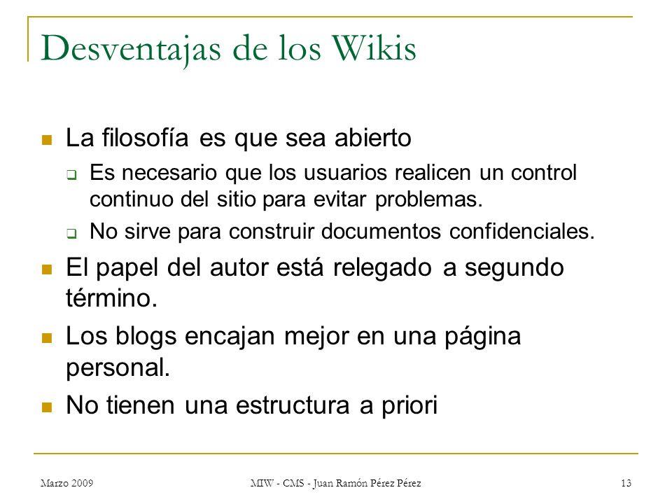 Desventajas de los Wikis