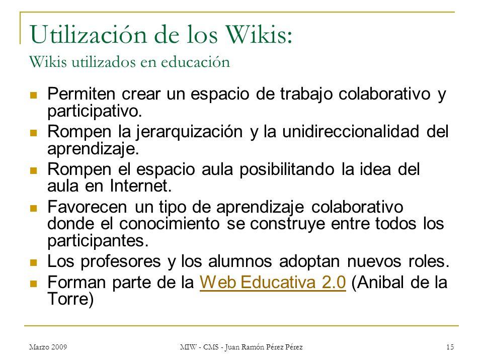 Utilización de los Wikis: Wikis utilizados en educación