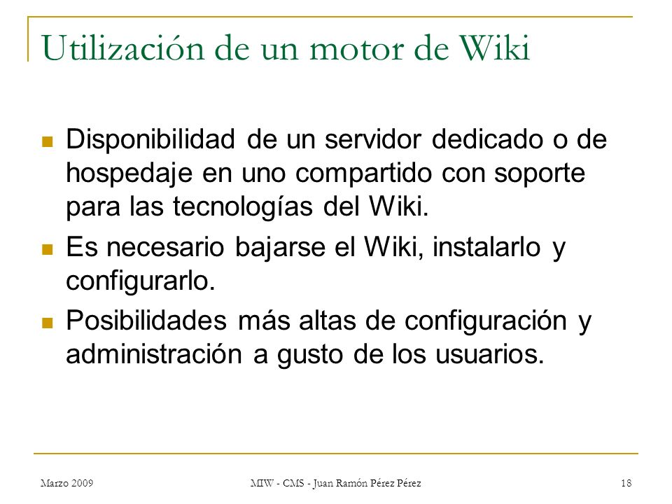 Utilización de un motor de Wiki