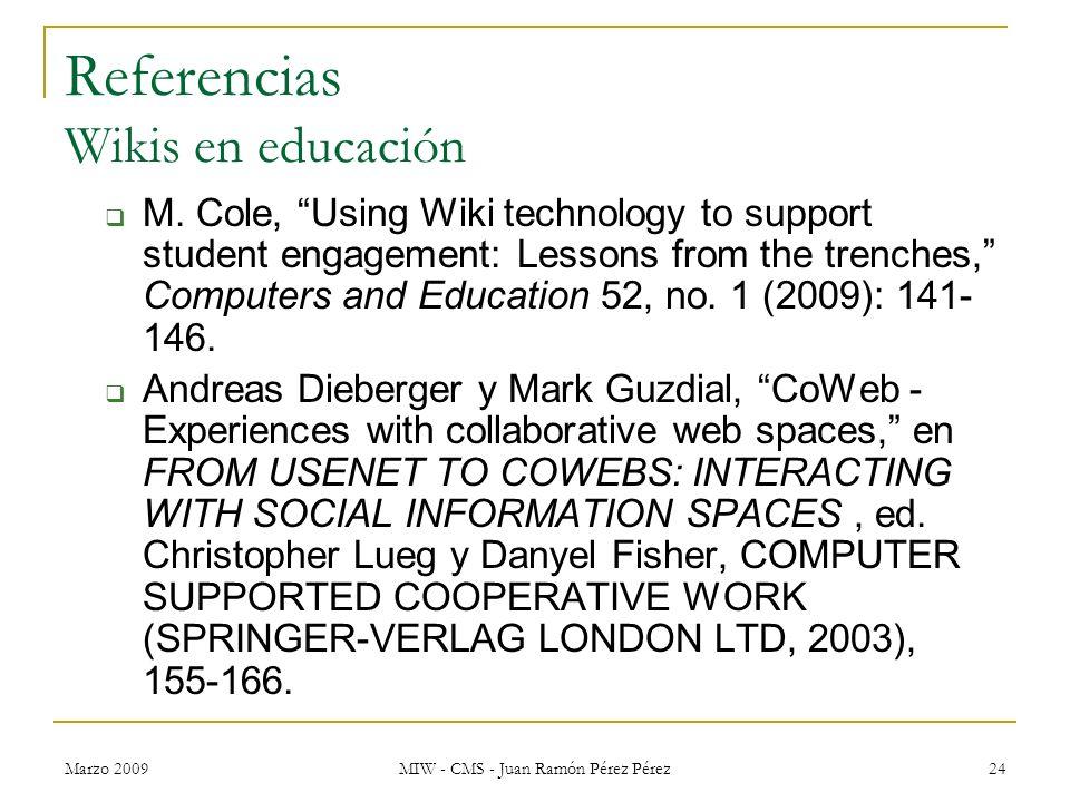 Referencias Wikis en educación