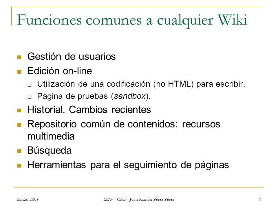 Funciones comunes a cualquier Wiki