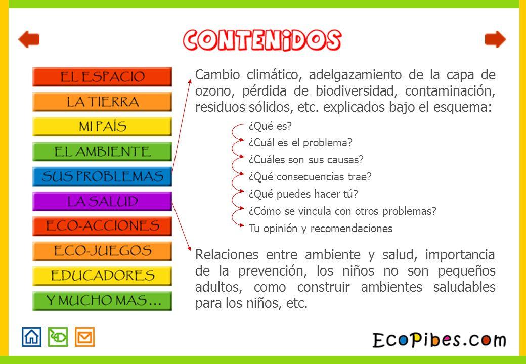 Cambio climático, adelgazamiento de la capa de ozono, pérdida de biodiversidad, contaminación, residuos sólidos, etc. explicados bajo el esquema: