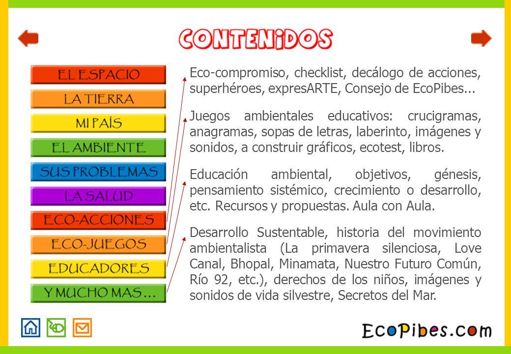 Eco-compromiso, checklist, decálogo de acciones, superhéroes, expresARTE, Consejo de EcoPibes...