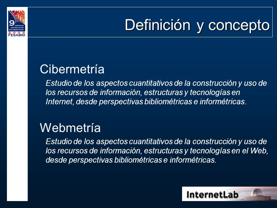 Definición y concepto Cibermetría Webmetría