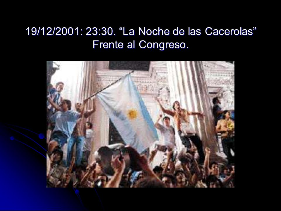 19/12/2001: 23:30. La Noche de las Cacerolas Frente al Congreso.