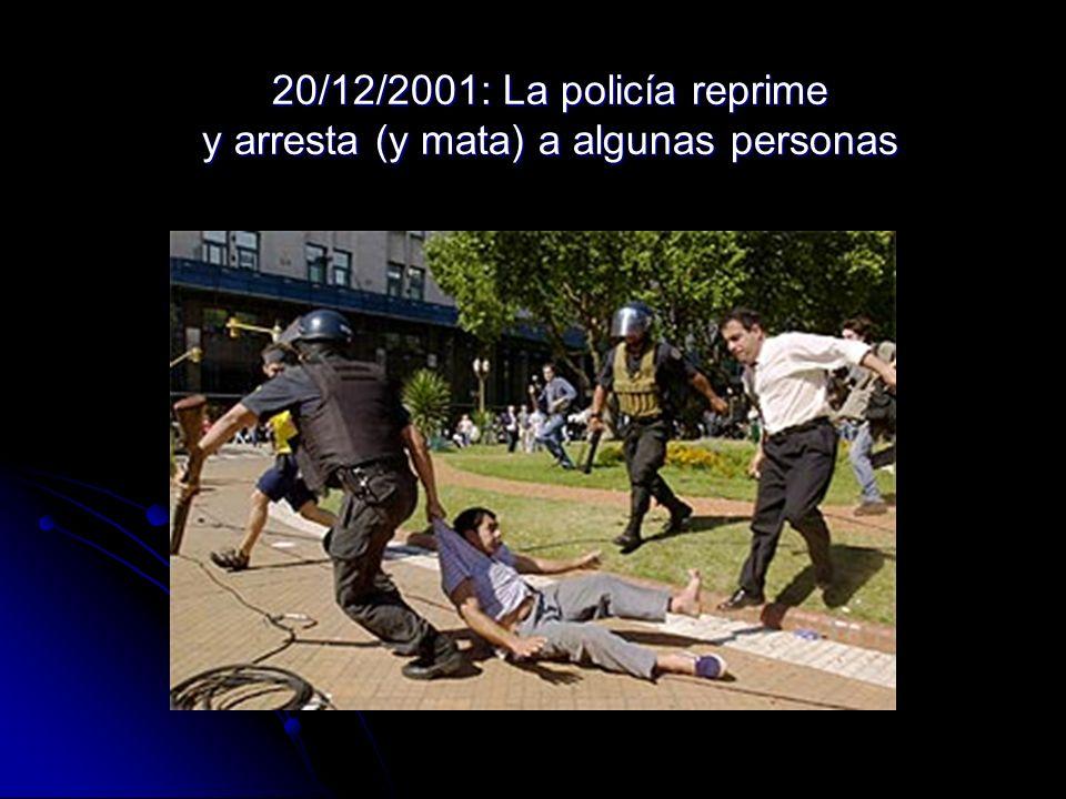 20/12/2001: La policía reprime y arresta (y mata) a algunas personas