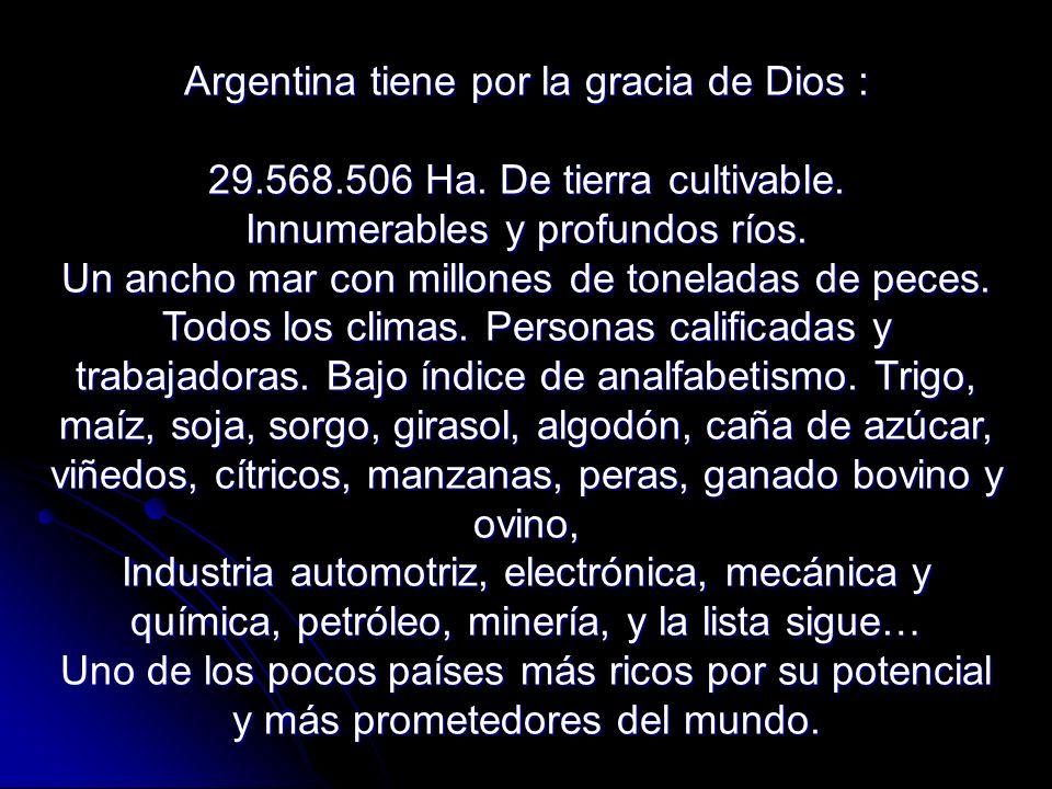 Argentina tiene por la gracia de Dios : 29. 568. 506 Ha