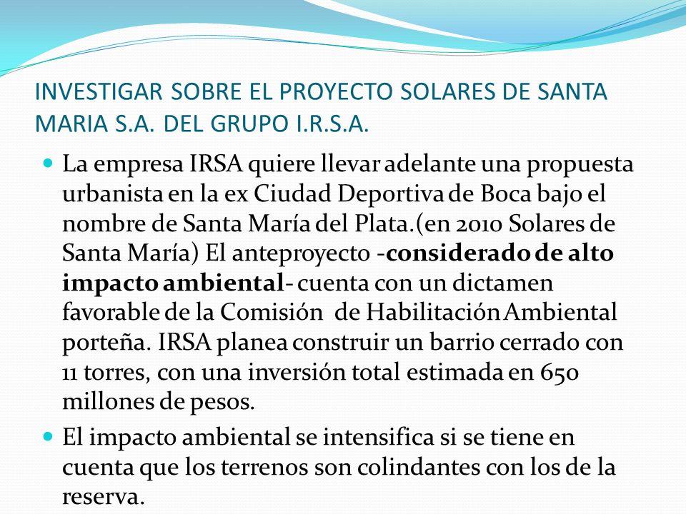 INVESTIGAR SOBRE EL PROYECTO SOLARES DE SANTA MARIA S. A. DEL GRUPO I