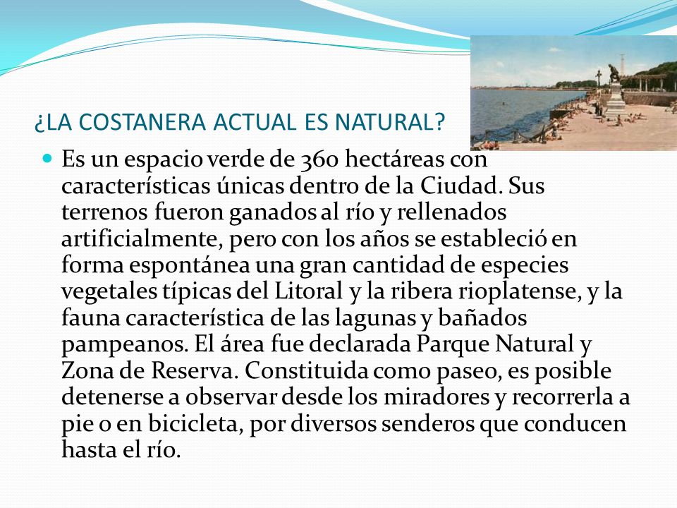 ¿LA COSTANERA ACTUAL ES NATURAL