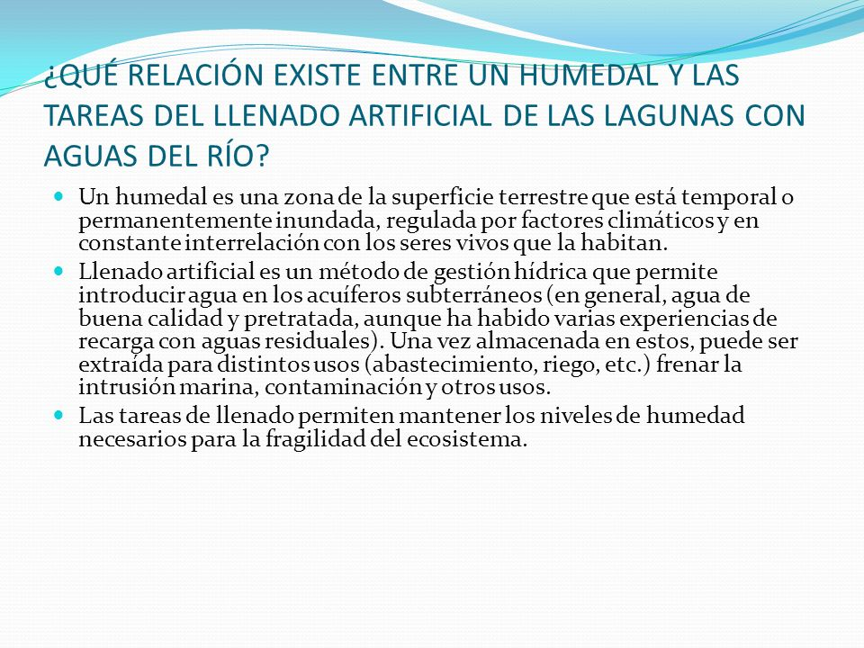 ¿QUÉ RELACIÓN EXISTE ENTRE UN HUMEDAL Y LAS TAREAS DEL LLENADO ARTIFICIAL DE LAS LAGUNAS CON AGUAS DEL RÍO