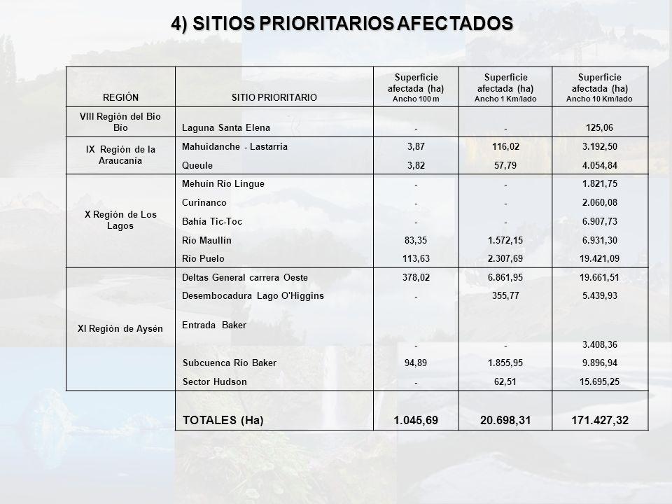 4) SITIOS PRIORITARIOS AFECTADOS