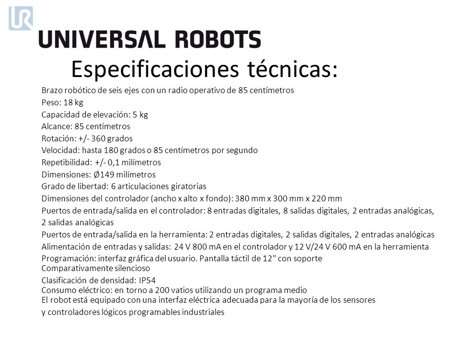 Especificaciones técnicas: