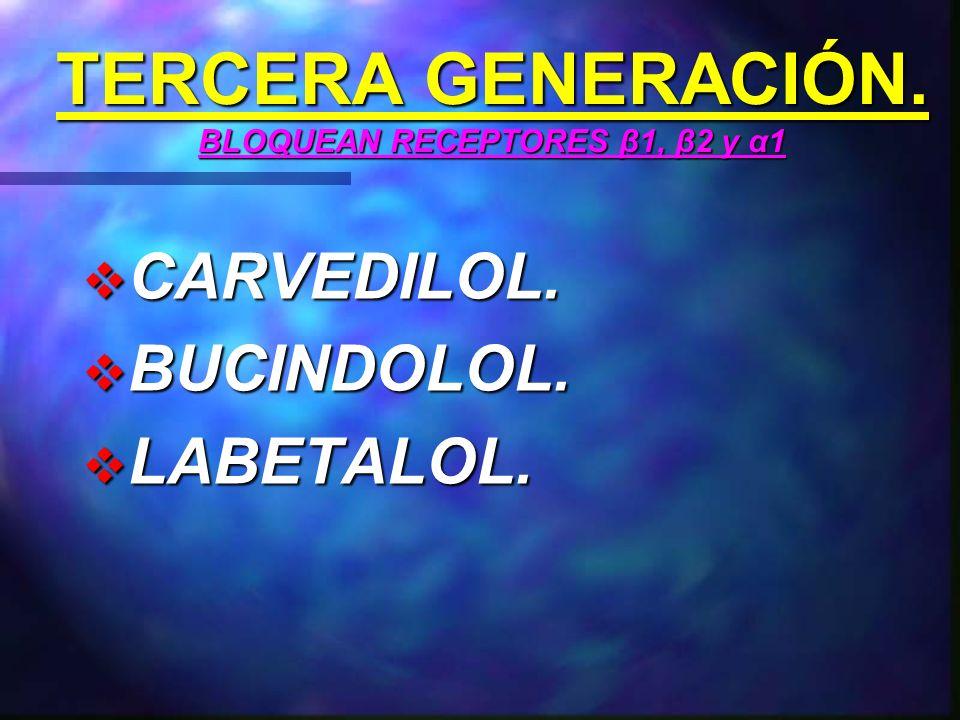 TERCERA GENERACIÓN. BLOQUEAN RECEPTORES β1, β2 y α1