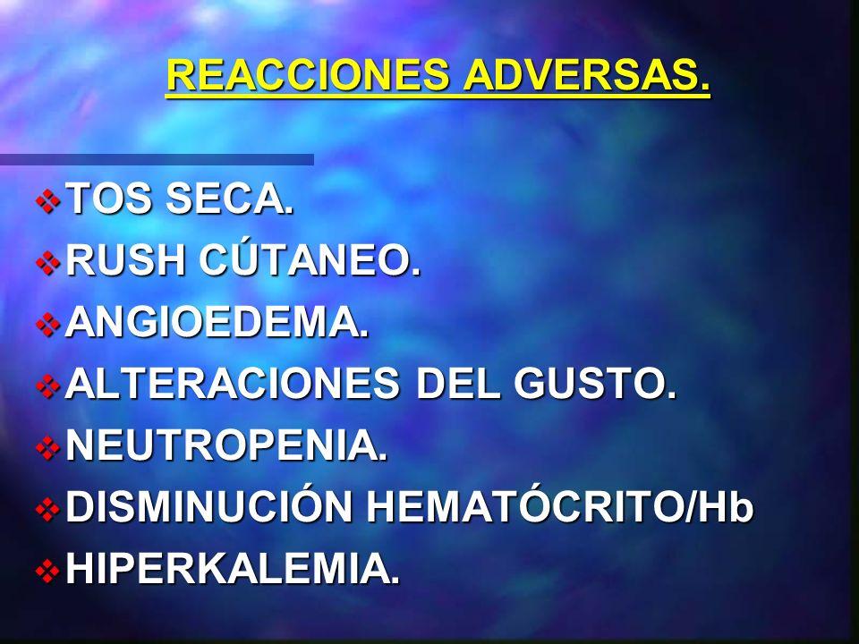 REACCIONES ADVERSAS. TOS SECA. RUSH CÚTANEO. ANGIOEDEMA. ALTERACIONES DEL GUSTO. NEUTROPENIA. DISMINUCIÓN HEMATÓCRITO/Hb.